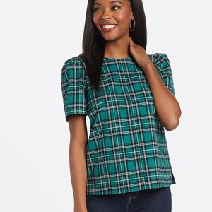 Draper James, Angie Check Puff Sleeve Blouse